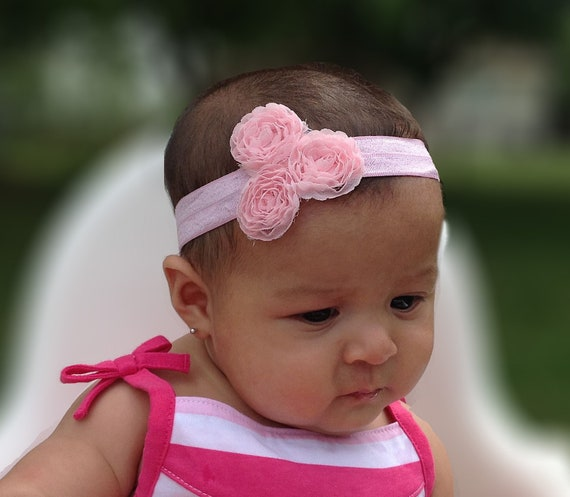 Pink Baby Headband, Baby Headband, Baby Headpiece, Pink Headband, Infant Headbands, Newborn Headband, Flower Headband, Baby Accessories