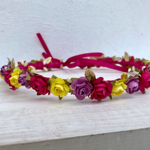 Birthday Crown, Hot Pink Flowers Crown, Purple Crown, Baby Crown, Newborn Headband, Infant Yellow Headband, Baby Headband Crown