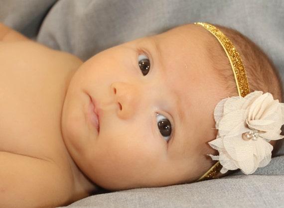 flower headband, Gold Headband, baby headband, newborn headband, headband, baby girl headband, infant headband, baby flower headband