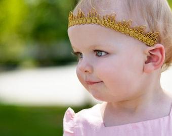 Baby Girl Crown, Gold Crown, Baby Girl Headband, Baby Crown Headband, Crown For Babies, Gold Crown, Crown Gold, Princess Headpiece