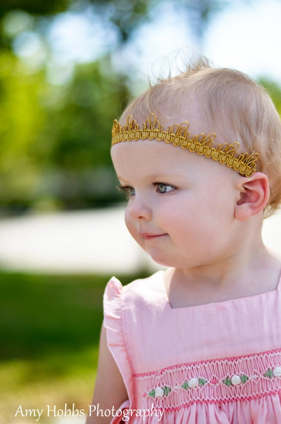 Baby Girl Crown, Gold Crown, Baby Girl Headband, Baby Crown Headband, Crown For Babies, Gold Crown, Crown Gold, Princess Headpiece