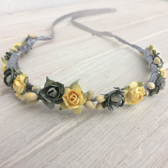 Newborn Crown, Flowers Baby Headband, Silver Crown, Yellow Crown, Bridesmaid Crown, Flowers Girls, Woodland Halo, Infant Headband