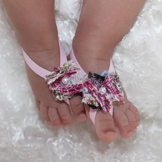 Barefoot Sandals, Baby Pink Sandals, Newborn Shoes, Baby Sandals, Newborn Sandals, Flower Sandals, Girls Sandals, Wedding Sandals