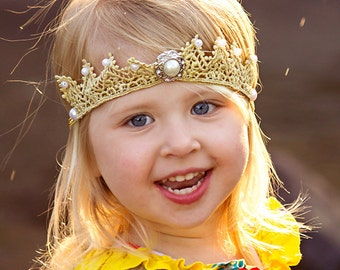 Gold Baby Crown, Crown Headband, Birthday Crown, Princess Crown, Gold Crown Headband, Gold Crown, Princess Headband, Baby Headband,