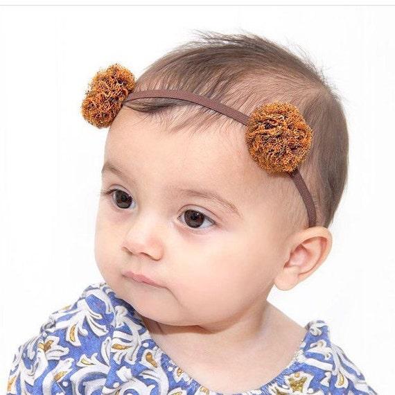 Birthday Girl Headband, Halloweeen Headband, Pom Pom headband, Orange Headband,  Baby Headband, baby girl headband, Infant Headbands