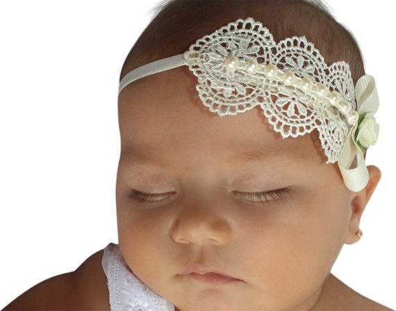 Beige Headband, Pearls Headband, Baptism Headband, Christening Headband, Baby Headband, Newborn Headband, Baby Girl Headband, Infant Headban