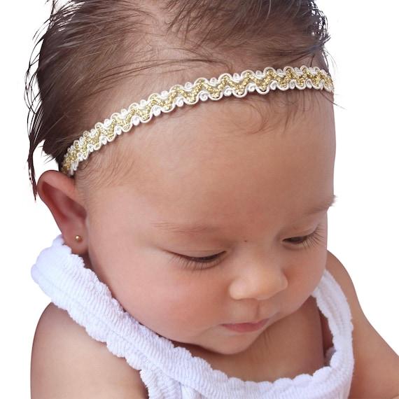 Baptism Headband, Baby Headpiece, Baby Headband, Infant Headband, Headband for babies, Christening Headband, Gold Headband