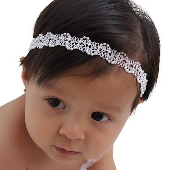 Taufe Stirnband Taufe Stirnband Weißes Stirnband Haarband Baby Mädchen Stirnband Säugling Stirnband Weiße Babystirnband Halo
