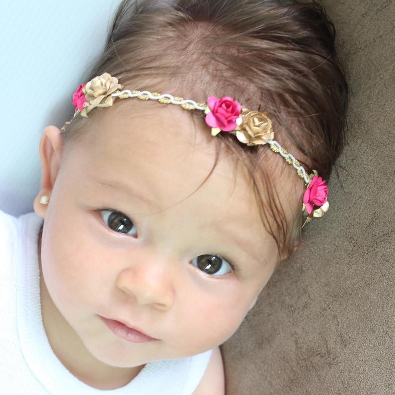 Flowers Crown Paper Flowers Headband Pink Headband Gold Headband Pink Baby Headband Girls Headband Flowers Gold Leaf Headband
