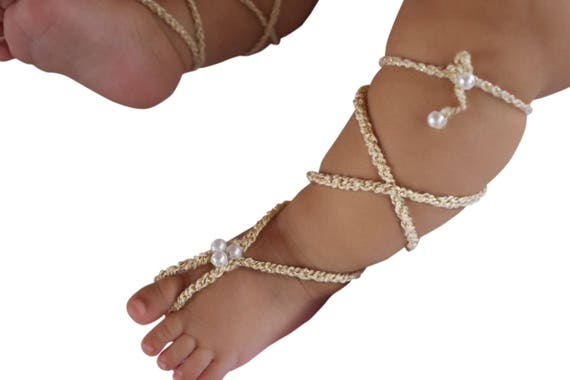 Barefoot Baby Sandals, Gold Gladiator Sandals, Barefoot Sandals, Crochet Baby Sandals, Crochet Barefoot, Baby Sandals, Newborn Sandals