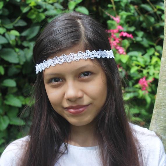 Boho Headband, Adult Boho Headband, Bohemian Headband, White Boho Headband, Forehead Headband, Halo Headband, Bridal Boho, White Headband