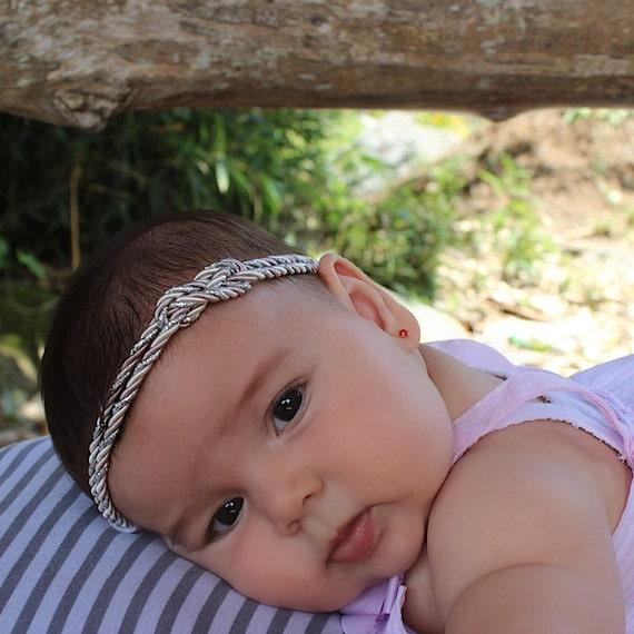 Newborn Turban, Silver Turban, Silver Baby Headband, Baby Girls Headband, Baby Headband, Newborn Headband, Headband Silver, Gray Turban