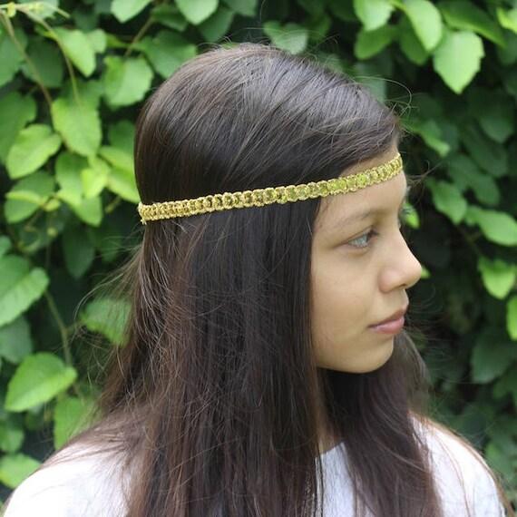 Bohemian Headband, Adult Boho Headband, Gold Boho Headband, Gold Girl Headband, Forehead Headband, Halo Headband, Gold Headband