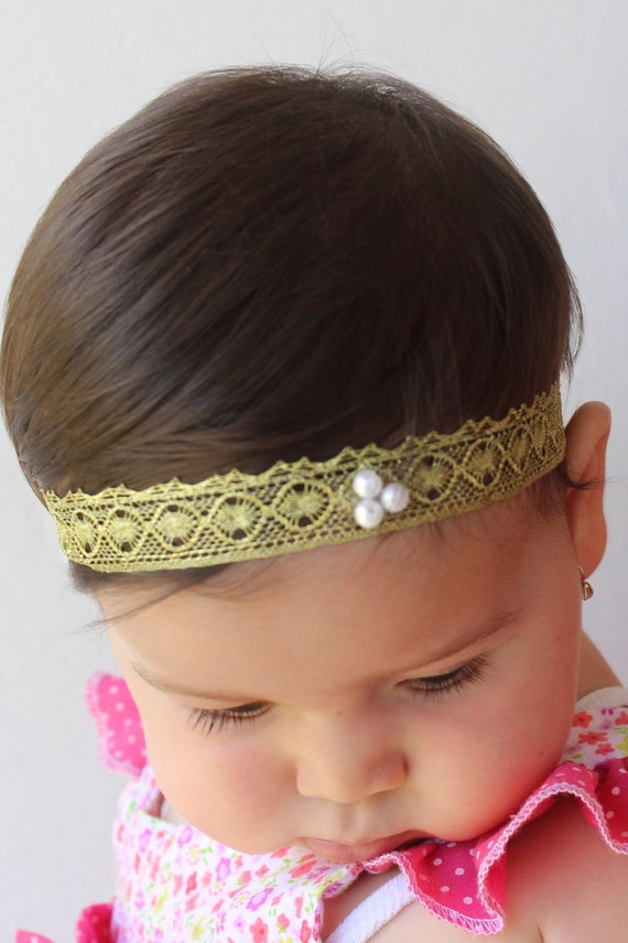 Gold Headband, Toddler Headband, Baptism Headband, Infant Headbands, Gold Baby Headband, Gold Headbands, Lace Headband, Baby Headband