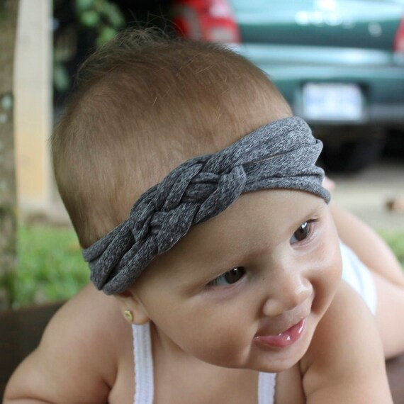 Gray Knot Headband, Top Knot Headband, Baby Headband, Newborn Headband, Infant Headband, Baby Girl Headband, Baby Head Wrap Toddler Headband