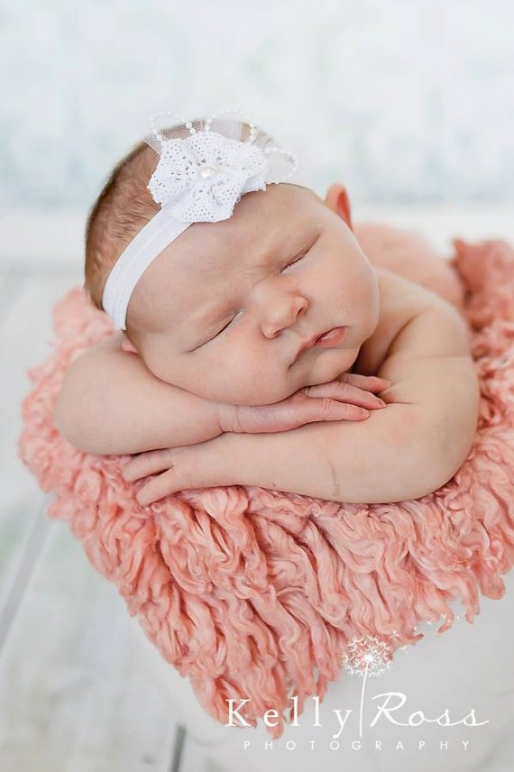 Special Occasion Headband, Baptism Headband, Baby Flower Headband, Baby Headband, Baby Girl Special Occasion, White Headband, Headband white