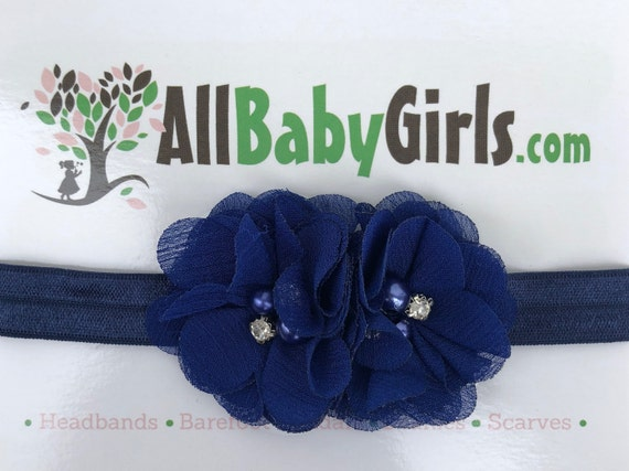 Blue Headband Baby, Infant Headbands, Baby Head Wraps, Newborn Headband, Flower Headband Baby, Headband for Babies, Baby Girl, Blue Headband