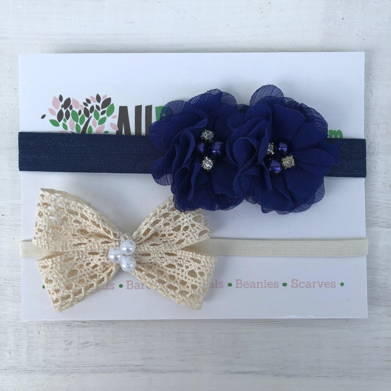 Beige Bow Baby Headband Blue Infant Headbands Flower Headband Bow