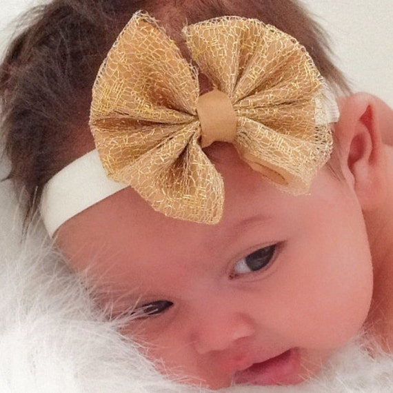 Christmas Bow Headband, Gold Bow Headband, Christening Headband, Bow Headband, Newborn Headband, Infant Headbands, Gold Headband, Toddler