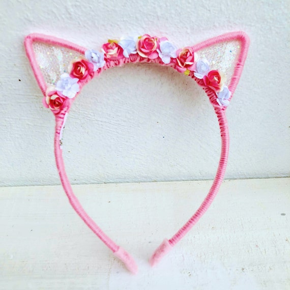 Pink Flowers Cat Ears Headband,  Pink Ears Headband, Pink Cat Ears,  White Flowers Cat Ears, Ears Headband, Girls Headband, Cat Headband