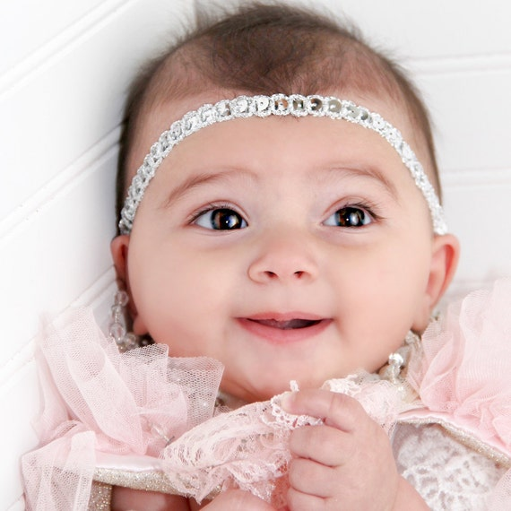 Baby Headband, Baby Girl Headband, Newborn Headband, Silver Headband, Girls Headband, Newborn Baby Headband, Boho Headband, Silver Headband