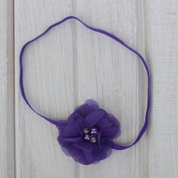 Purple Headband, Infant Flower Headband, Baby Headband, Purple Headbands, Purple Headpiece, Infant Headbands, Newborn Headband