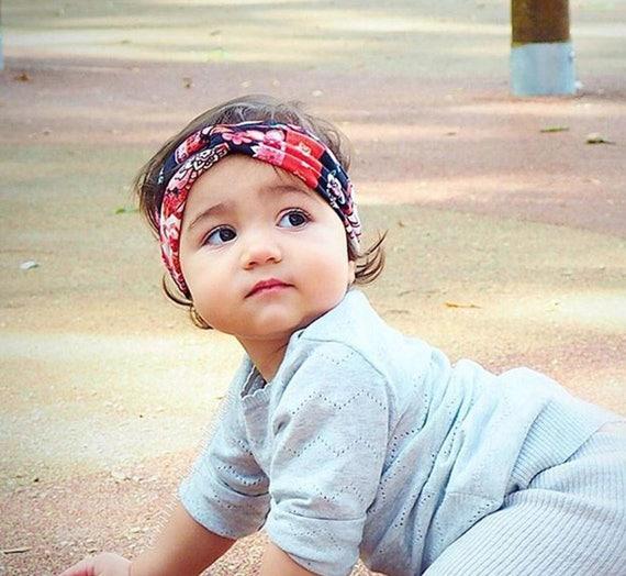 Baby Turban, Floral Turban, Black Turban, Black Headband, Infant Headbands, Handmade Headband, Turbans, boho turban headband