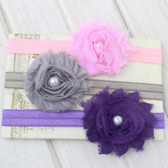 Baby Headband set, Pink Headband, Purple Headband, Kids Headbands, Gray Headband, Baby Headband, Flower Headband