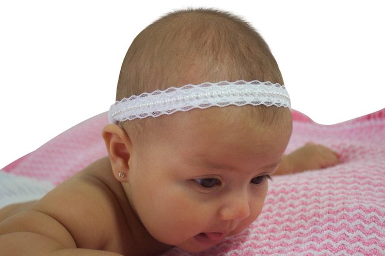 White Baby Headband Baptism Headband Pearls Headband Wedding Headpiece Baby Lace Headband Baby Halo Headband Christening Headband