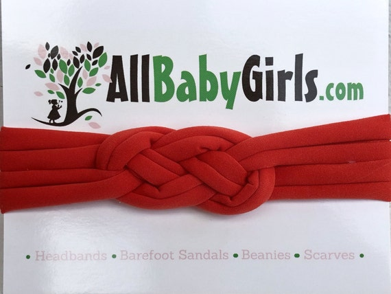 Knot Headband, Red Headband, Baby HeadWrap, Red Turban, Celtic Knot Headband, Sailor's Knot, Hair Wrap, Baby Headband, Baby Head Wrap