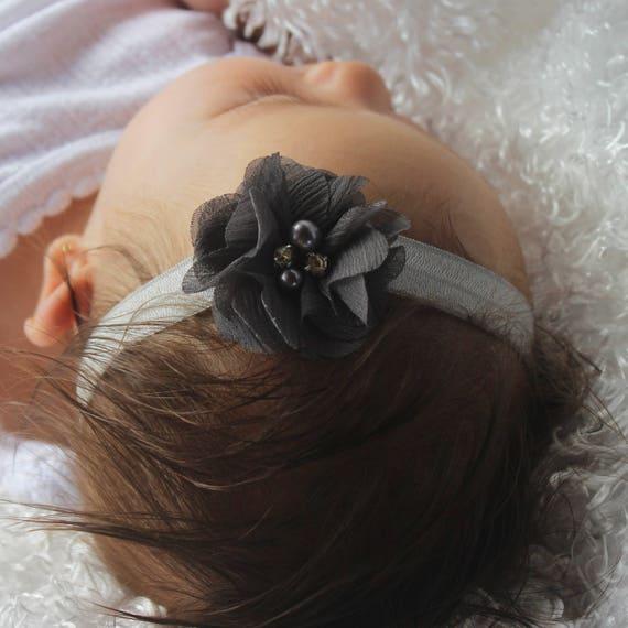 Baby Headband, Baby Flower Headband, Kids Headbands, Gray Headband, Toddler Hair Accessories, Baby Gray Headband, Flower Headband