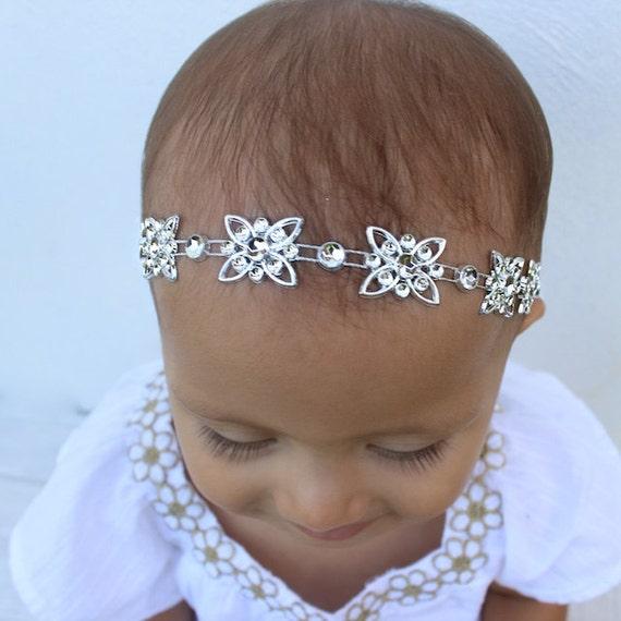 Silver Headband, Rhinestones Headpiece, Baptism Headband, Newborn Headband, Baptism Headband, Wedding Headpiece