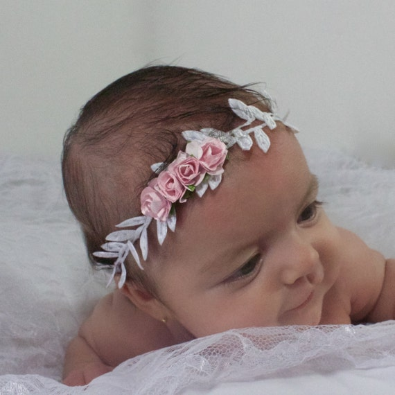 White Baby Headband, Pink Flowers Headband, Leaves Headband, Baby Headband, Infant Headbands, Grecian Headband, Greek Headband, Newborn