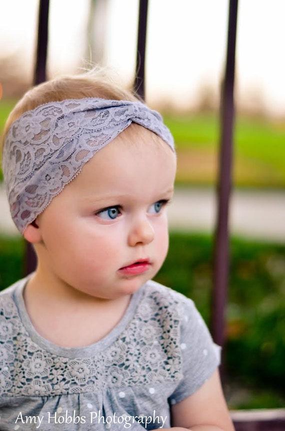 Gray Turban Headband,  Lace Headband, Turban, Baby Headwrap, Hair Accessories, Toddler Head Wrap, Girls Headpiece