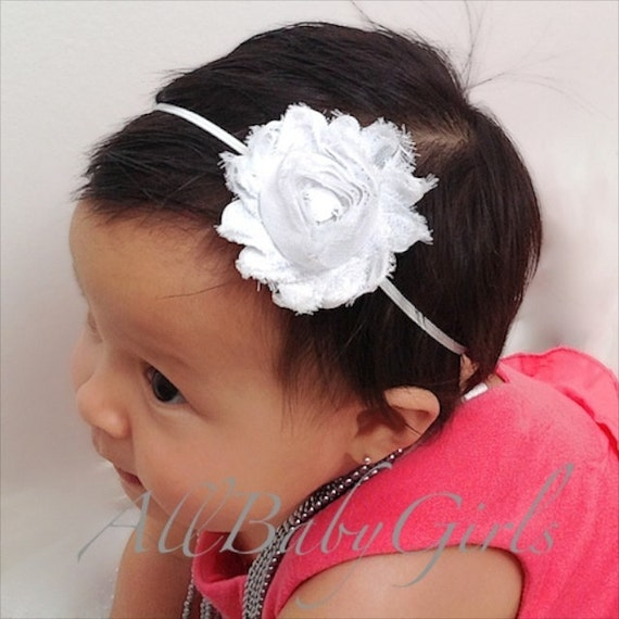White Baby Headband, headbands for babies, baby headwrap, White Headband, Flower Headband, Christening Headband, Infant Headbands