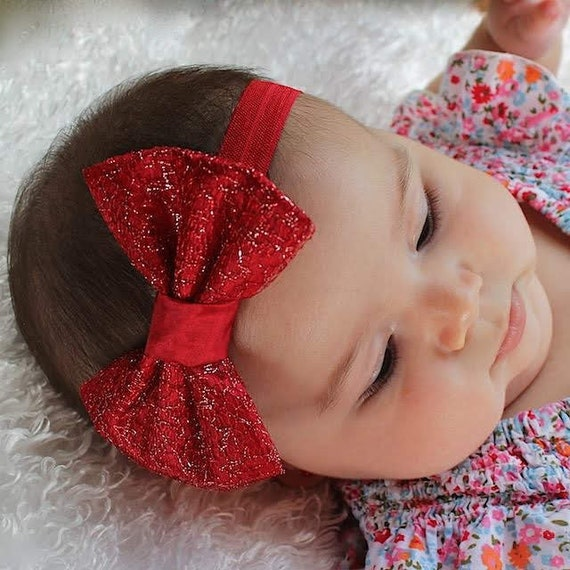 Christmas Headband, Red Bow Headband, Baby Girl Headband, Red Headband, Bow Headband, Newborn Headband, Infant Headbands, Baby Accessories