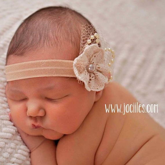 Christening Headband, Baby Flower Headband, Baby Headband, Headbands For Babies, Baptism Headband, Baby Hair Accessories, Baby Baptism