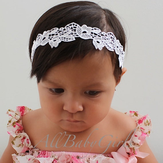 Christening Headband, White Headband, Lace Headband, Baby Headband, Newborn Headband, Halo Headband, Infant Headbands