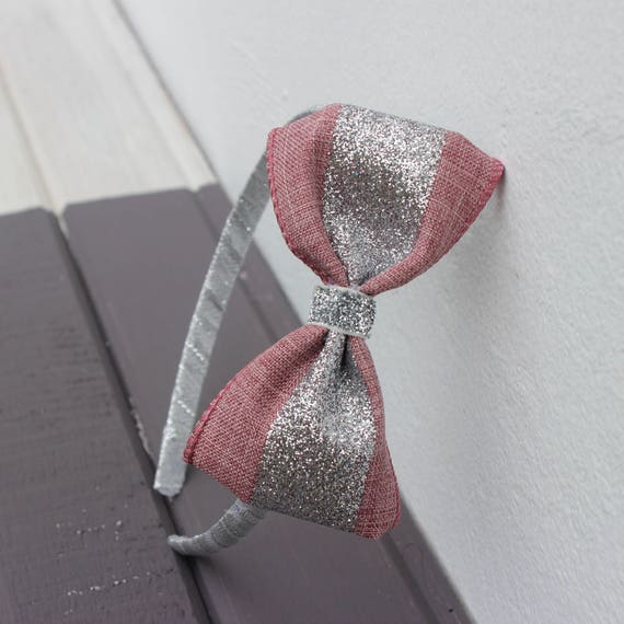 Pink Hard Headband, Pink Headband, Silver Glitter Bow Headband, Plastic Headband, Sparkle Bow, Girls Headband, Girl Hair Bow