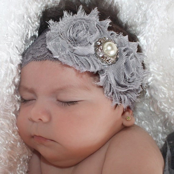 Headband for Baptism, Flower Baby Headband, Baby Girl Headband, Gray Baby Headband, Lace Baby Headband, Newborn Headband, Gray Headband