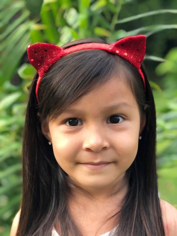 Sequin Cat Ears Headband Red NEW