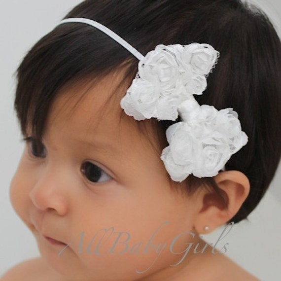 White Bow Headband, Baby Headband, Bow Headband, Newborn Photo Prop, Girls Headband, White Bow Headband, Hair Accessories