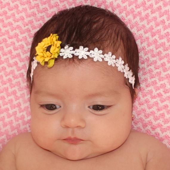 Sunflower Headband, Baby Headpiece, Baby Headband, Flower Headband, Newborn Headband, Infant Headbands, Newborn Accessories