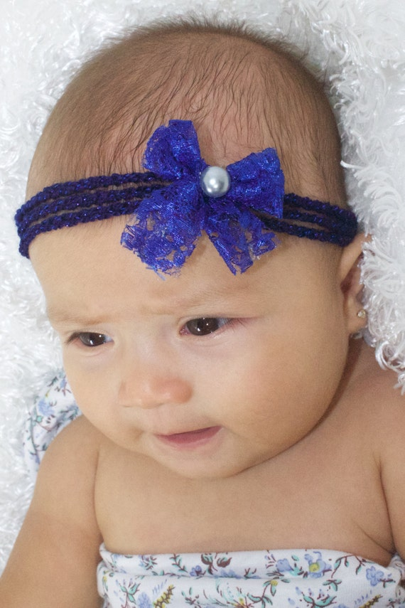Blue Bow Headband, Blue Baby Bow, Baby Headband, Newborn Headband, Infant Headband, Baby Girl Headband, Baby Head Wrap, Toddler Headband,