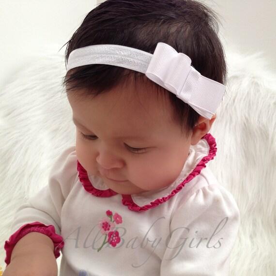 Infant White Headband, Bow Headband, Baby Headband, Baby Headpiece, Headband Baptism, Handmade Headband, Newborn Headband, Infant Headband