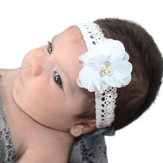 White Headband, Headbands for Baptism, baby girls christening, Baptismal Headband, Baby Headband, Newborn Headband, Headband Flower Baby
