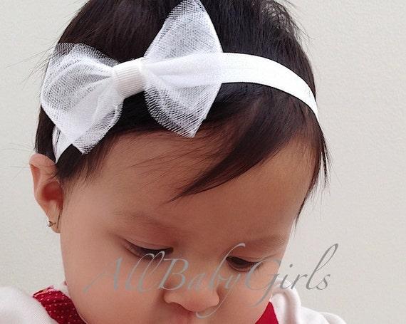 Bow White Headband, White Baby Headband, White Headband, Infant Headband, Newborn Headband, Christening Headband, Tulle Headband