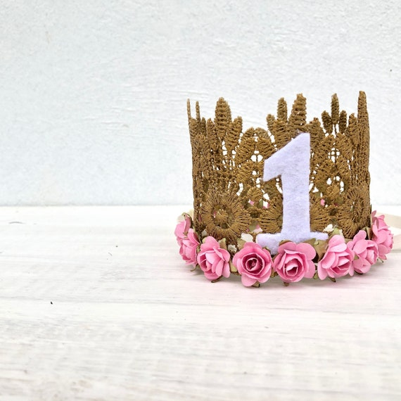 First Birthday Crown, Lace Crown Headband, Pink Flowers Crown, Mini Crown, Princess Crown, Gold Crown, 1st Birthday Crown, Flower Crown