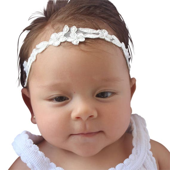 Embroidered Headband, Christening Headband, Baptism Headband, Baby Headbands, Headbands For Babies, Off White Headband, Newborn Headband