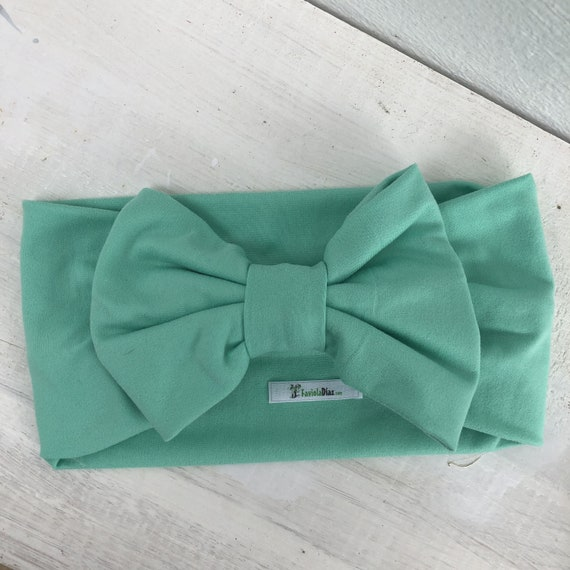 Mint Bow, Baby Headband Bow, Baby Turban Headband, Toddler Head Wrap, Baby Turban, Lace Baby Headband, Turban Baby Headband, Baby Head Wrap,